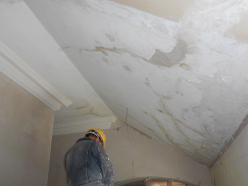 Specialist Contractor Repairing The Historic Ceiling & Cornices