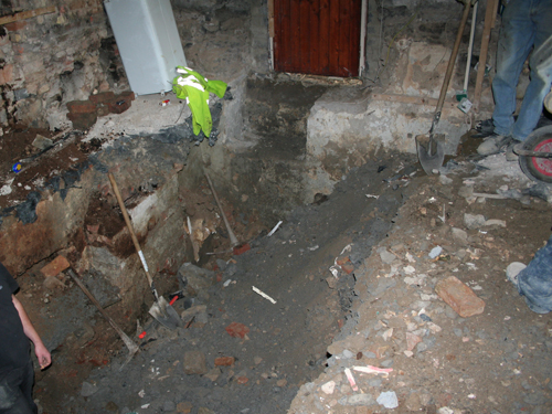 Excavation Of Basement With 18th Century Ovens